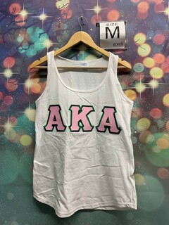 New Super Savings - Alpha Kappa Alpha Lettered Tank Top - WHITE