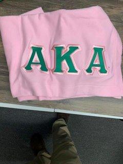 New Super Savings - Alpha Kappa Alpha Lettered Twill Sweatshirt Blanket - PINK