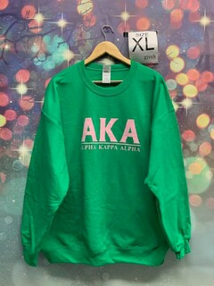 New Super Savings - Alpha Kappa Alpha Message Sweatshirt - GREEN