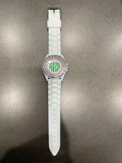 New Super Savings - Alpha Kappa Alpha Monogram Watch - WHITE