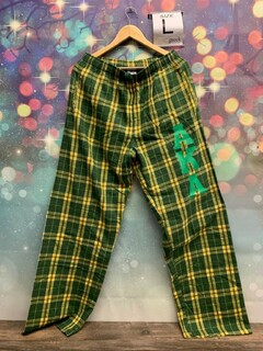 New Super Savings - Alpha Kappa Alpha Pajamas - Flannel Plaid Pant - GOLD AND GREEN