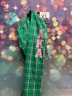 New Super Savings - Alpha Kappa Alpha Pajamas - Flannel Plaid Pant - GREEN