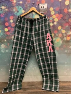 New Super Savings - Alpha Kappa Alpha Pajamas - Flannel Plaid Pant - GREEN