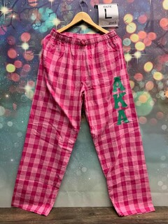 New Super Savings - Alpha Kappa Alpha Pajamas - Flannel Plaid Pant - PINK