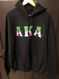 New Super Savings - Alpha Kappa Alpha Two Tone Greek Lettered Hooded Sweatshirt - BLACK
