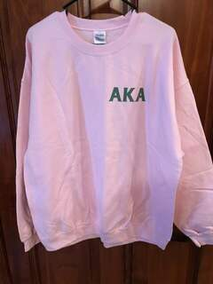 New Super Savings - Alpha Kappa Alpha World Famous Crest - Shield Crewneck Sweatshirt - PINK
