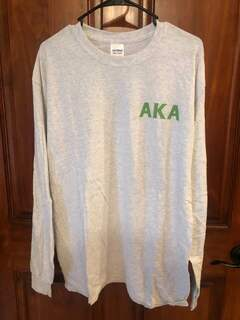 New Super Savings - Alpha Kappa Alpha World Famous Crest - Shield Long Sleeve T-Shirt - LIGHT GREY