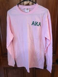 New Super Savings - Alpha Kappa Alpha World Famous Crest - Shield Long Sleeve T-Shirt - PINK