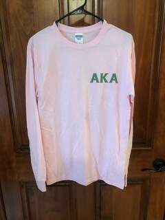 New Super Savings - Alpha Kappa Alpha World Famous Crest - Shield Long Sleeve T-Shirt - PINK in size S