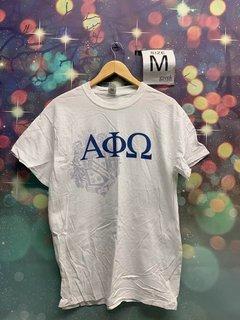 New Super Savings - Alpha Phi Omega Greek Crest - Shield T-Shirt - WHITE