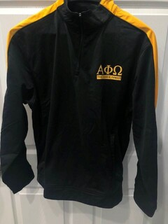 New Super Savings - Alpha Phi Omega World Famous Greek Medalist Pullover - BLACK AND GOLD