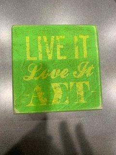 New Super Savings - Alpha Sigma Tau Live It Love It Wooden Plaque - GREEN