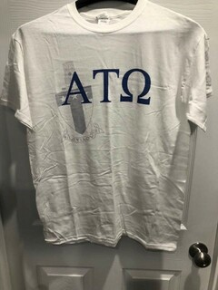 New Super Savings - Alpha Tau Omega Greek Crest - Shield T-Shirt - WHITE in size M