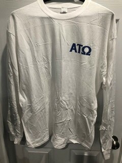 New Super Savings - Alpha Tau Omega World Famous Crest - Shield Long Sleeve T-Shirt - WHITE