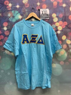 New Super Savings - Alpha Xi Delta Lettered T-Shirt - BLUE