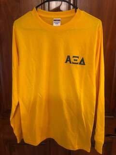 New Super Savings - Alpha Xi Delta World Famous Crest - Shield Long Sleeve T-Shirt - GOLD