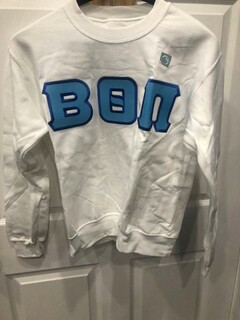 New Super Savings - Beta Theta Pi Lettered Crewneck - WHITE