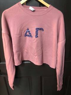 New Super Savings - Delta Gamma Bella and Canvas - Womens Cropped Crew Fleece - MAUVE