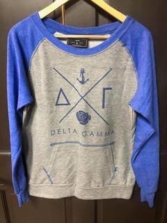 New Super Savings - Delta Gamma Crewneck - GREY AND BLUE