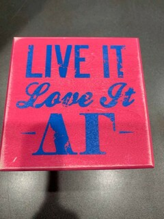 New Super Savings - Delta Gamma Live It Love It Wooden Plaque - PINK 1 of 5