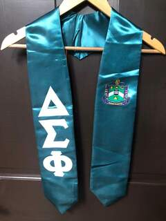 New Super Savings - Delta Sigma Phi Greek Lettered Graduation Sash Stole - GREEN