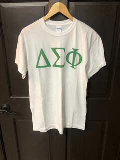 New Super Savings - Delta Sigma Phi Lettered Tee - WHITE