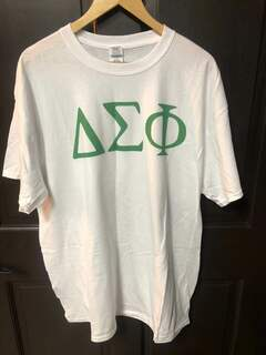 New Super Savings - Delta Sigma Phi Lettered Tee - WHITE in size XL