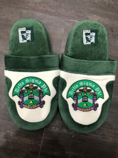 New Super Savings - Delta Sigma Phi Slippers - GREEN AND WHITE