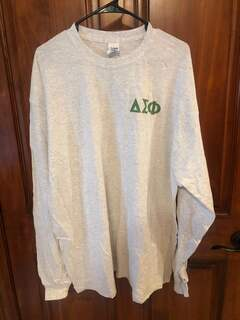 New Super Savings - Delta Sigma Phi World Famous Crest - Shield Long Sleeve T-Shirt - LIGHT GREY