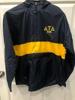 New Super Savings - Delta Tau Delta Charles River Stripe Greek Pullover Anorak - NAVY AND GOLD