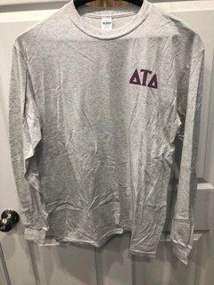 New Super Savings - Delta Tau Delta World Famous Crest - Shield Long Sleeve T-Shirt - LIGHT GREY