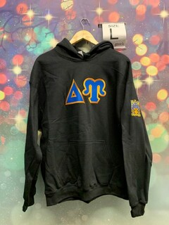 New Super Savings - Delta Upsilon Lettered Hooded Sweatshirt with crest on sleeve - BLACK