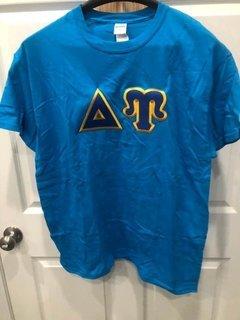 New Super Savings - Delta Upsilon Lettered T-Shirt - BLUE