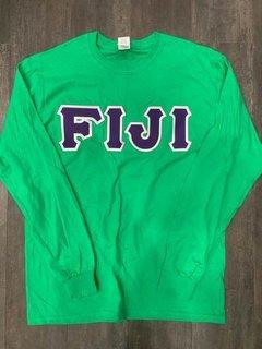 New Super Savings - FIJI Fraternity Lettered Long Sleeve - GREEN