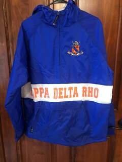 New Super Savings - Kappa Delta Rho Charles River Custom Stripe Greek Pullover Anorak - BLUE