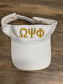 New Super Savings - Omega Psi Phi Greek Letter Visor - WHITE