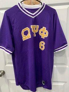New Super Savings - Omega Psi Phi Retro V-Neck Baseball Jersey - PURPLE