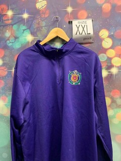 New Super Savings - Omega Psi Phi World Famous Crest - Shield Wicking Fleece Pullover - PURPLE in XXL