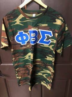 New Super Savings - Phi Beta Sigma Lettered Camouflage T-Shirt - CAMO
