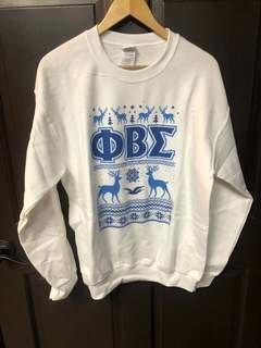 New Super Savings - Phi Beta Sigma Ugly Christmas Sweater Crewneck Sweatshirt - WHITE