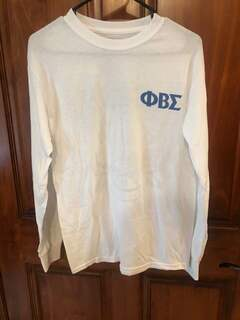 New Super Savings - Phi Beta Sigma World Famous Crest - Shield Long Sleeve T-Shirt - WHITE