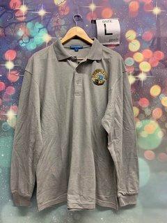 New Super Savings - Phi Kappa Sigma Crest - Shield Emblem Long Sleeve Polo - GREY