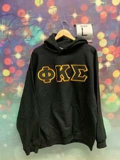 New Super Savings - Phi Kappa Sigma Lettered Hooded Sweatshirt - BLACK