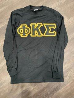New Super Savings - Phi Kappa Sigma Lettered Long Sleeve - BLACK