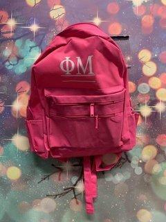 New Super Savings - Phi Mu Custom Text Backpack - PINK
