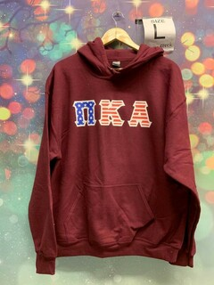 New Super Savings - Pi Kappa Alpha Greek Letter American Flag Hoodie - MAROON