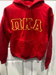 New Super Savings - Pi Kappa Alpha Lettered Hooded Sweatshirt - RED in size M