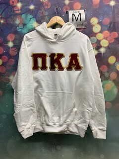 New Super Savings - Pi Kappa Alpha Lettered Hooded Sweatshirt - WHITE