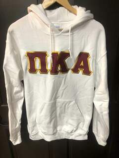 New Super Savings - Pi Kappa Alpha Lettered Hooded Sweatshirt with Crest on Sleeve  - WHITE