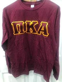 New Super Savings - Pi Kappa Alpha Lettered Long Sleeve - MAROON